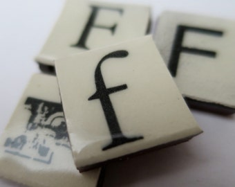 F Ceramic lettering, scrabble sized alphabet tiles hand made in the UK