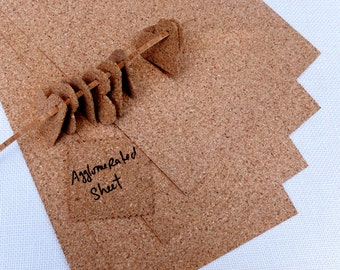 "Thin agglomerated cork sheets,  ten eco friendly sheets for your craft projects, sheets 20cmx30cm, 7.8""x11.8"", sizzix projects"