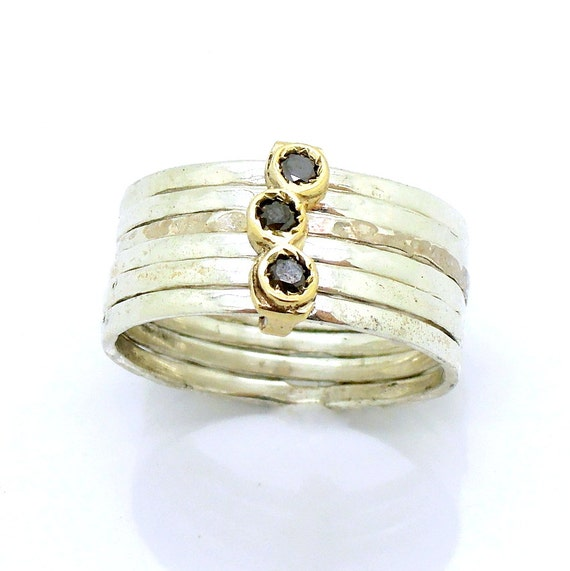 Stacking black diamond ring hammered silver by hadasgold on etsy