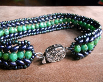 Fire-Polished and Twins Bracelet - Eggplant Purple and Green