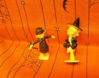 Miniature Witch & Scarecrow Cake Toppers ~ Hard Plastic Hand Painted Features ~ Mint Condition