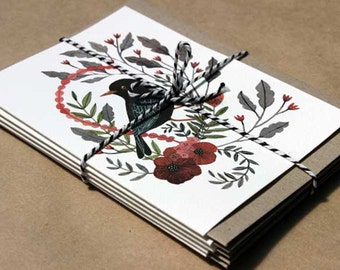 Mixed Card Set - Birds with Flowers - Set of Five