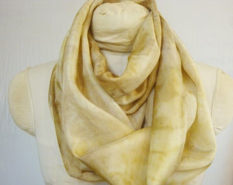 "Infinity Scarf - Eco Fashion Silk Scarf - Natural Dye - Gold Bronze Taupe - Eco Gift - HAI111433 - 11""x72"" (27 x 182 cm)"
