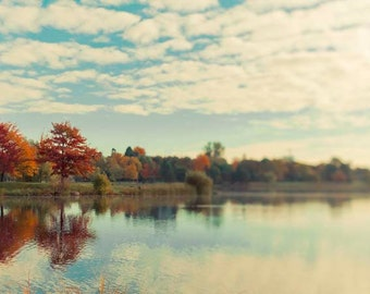 Fall Lake Photography, Autumn, Landscape, Blue, Orange, Rustic, Ottawa, Canada, Nature Photography