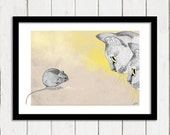 Cat and Mouse illustration, small art print