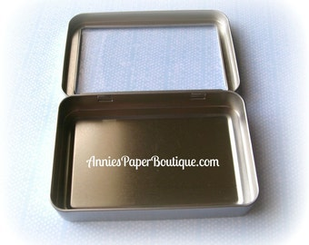 Candy Tin - Rectangle Window Tin with Hinged Lid - Treats, Favors