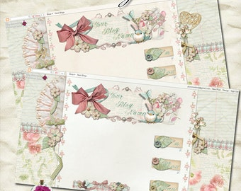 "Blog ""Mother's Treasures"" Designer Theme - pink, shabby, pastel, bird, mother's day, flowers, bird cage, chic, crafty, scrapbooking, banner,"