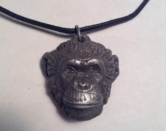Topo Chimpanzee pendant necklace dark cold cast pewter