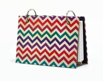 Chevron, 3 x 5 or 4 x 6 index card binder, daily memory journal, note card binder, index card holder with a set of index card dividers
