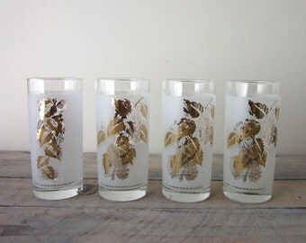 Vintage Mid Century Modern Cocktail Glasses Barware Set of Four Frosted with Gold Leaves