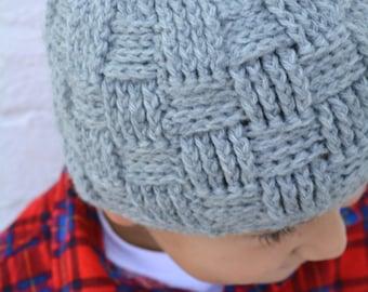 Boys Hat Crochet Pattern in Babies Toddler Kids and Mens Sizes Basketweave Beanie No.124 digital pattern