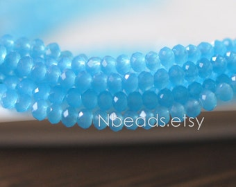 145pcs Crystal Glass Rondelle Faceted Tiny beads 2x3mm, Opal Blue (#BZ03-33)