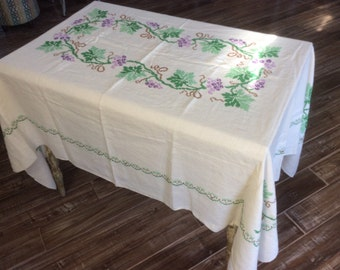 vintage table cloth tablecloth cross stitch embroidery cream white purple green grapes vines hand made handmade 60s 50s antique cotton usa