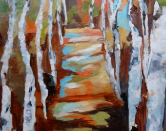 18 x 24 Fine Art Original Impressionist Oil Painting Landscape Birch Trees by Rebecca Croft Studios