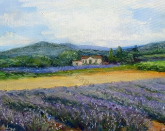 """Provence lavender field and house 5"""" x 7"""" giclee print of pastel painting"""