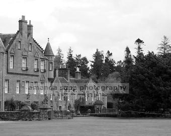Glamis Castle Scotland black and white photograph