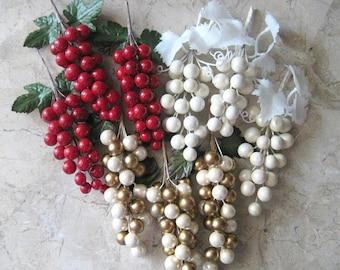 Craft Berry 2 Christmas Berry Vintage Berry Decor White Berry Gold Berry Fruit Decor Grape Clusters Floral Pick Plastic Faux Artificial Stem