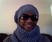 Chunky Knit Hat and Scarf Set, Knit Chunky Hat, Knit Chunky Cowl, Knit Chunky Hat and Scarf, Hat and Cowl Winter Set