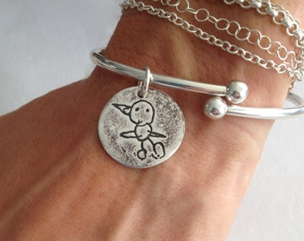 Your Child's Actual Drawing Sterling Silver Charm Cuff Bracelet with Removable Threaded Ball End - Made to order