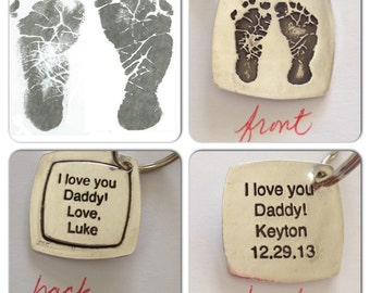 Footprints or Handprints Made in Silver from your child's actual prints Choose your options