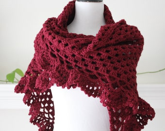 Crocheted Burgundy Triangle Scarf, Shawl