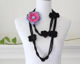 Black Lariat, Necklace, Scarf, Scarflette