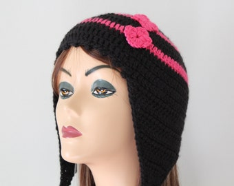 Crochet Black and Pink EarFlap Hat