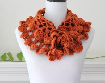 Crocheted pumpkin neckwarmer  Scarf