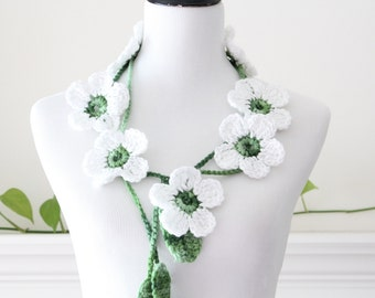 Crocheted White Sparkle Lariat, Necklace, Scarf, Scarflette
