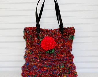 Large Knit Silk Sari Tote Bag, Jewel Tone Silk Sari Knit Purse, Knit Notebook Tote Bag, Hand Knit Silk Sari Purse, Silk Purse Felted Flower