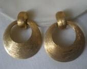 Vintage Gold Tone Brush Textured Circle Hoop Clip Earrings