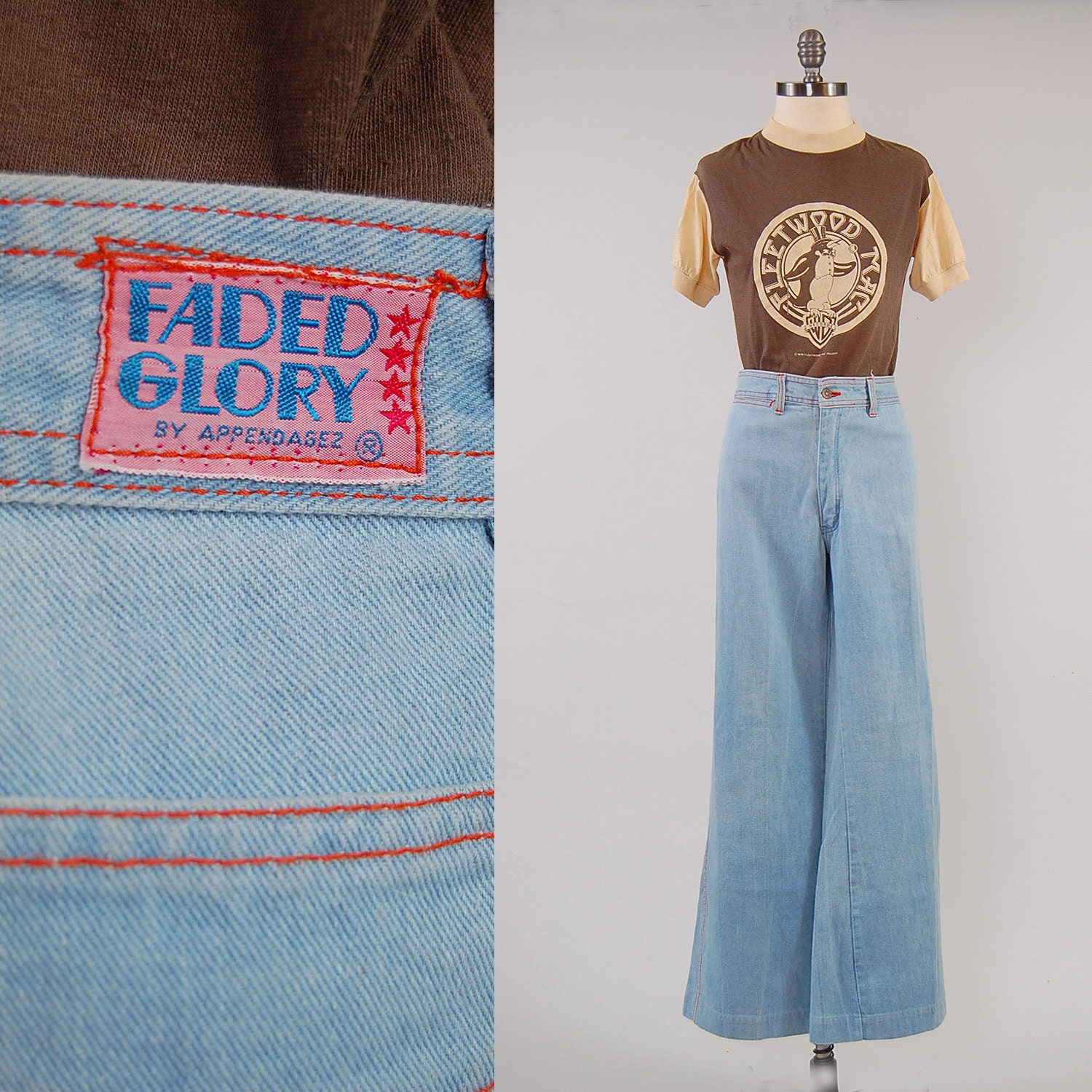 Vintage 70s Faded Glory Bellbottom Jeans 32 Inch Waist By 31