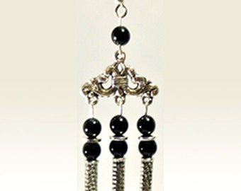 Black Three-strand Dangle Earrings - Hypo Allergenic