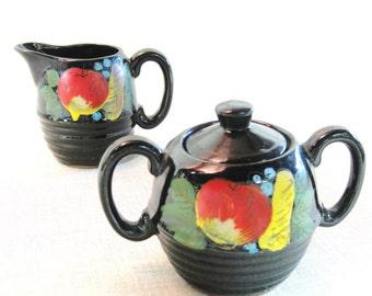 Cream and Sugar Set , Antique , Handpainted , Sugar Bowl , Ceramic , Pair , Black , Fruit , Antique Ceramics , Rustic Decor , Kitchenware