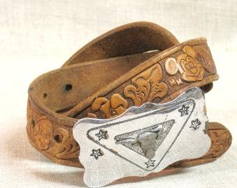 Tooled Leather Belt , Vintage Disney , Mickey Mouse , Childs Belt , Kids Belt , Western Belt , Metal Buckle , Vintage Child , Leather Belt