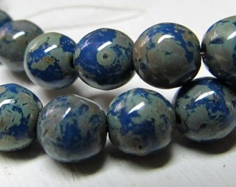 Czech Glass Beads 6mm Blueberry w/ Olive Green Accent Smooth Rounds - 30 Pieces