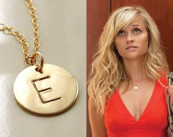 Gold disc necklace etsy initial necklace gold disc necklace 14kt gold filled choose up to 5 discs aloadofball Images