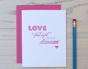 dance moves love letterpress card