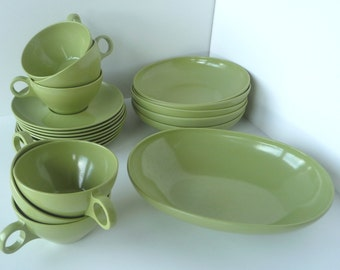 Mid Century Green Prolon Cups and Bowls Dinnerware Set  20 Pieces