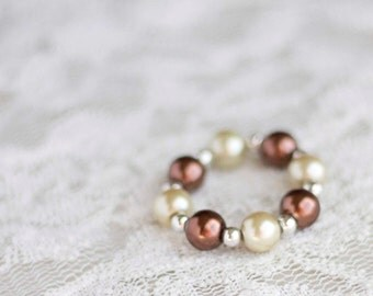 Gold and Brown. Baby Bracelet. Bead. Pearl. Newborn. Toddler. Child. Photography Prop. Newborn Prop. Tolola Design.