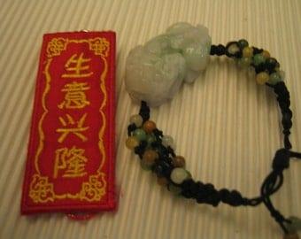 Chinese . PIXIU .... Natural Jade Bracelet . Handknotting Jewelry