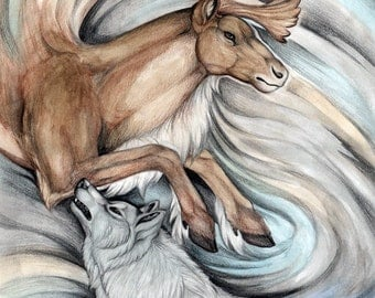 The Hunter and Hunted - 5 x7 Fine Art Print - By Laura Airey Le Wolf and Caribou