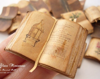 Miniature Open Book Antique Beehive/Apiology for Dollhouse 1/12 Scale