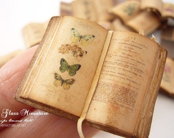 Miniature Open Book Butterflies/Lepidoptery for Dollhouse 1/12 Scale