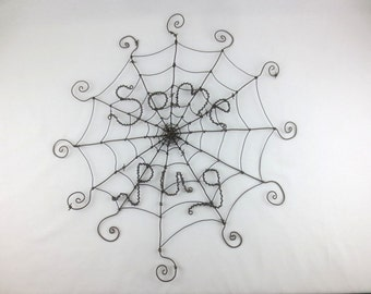 Some Pug Charlotte's Web Inspired Barbed Wire Spider Web Sculpture Made to Order