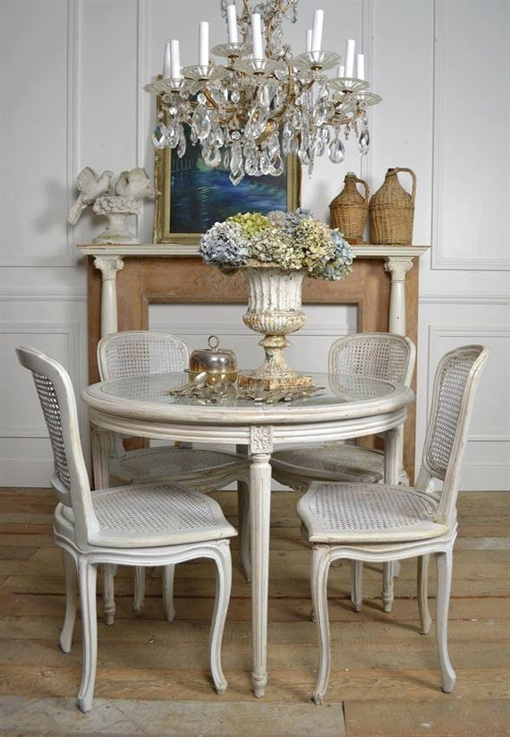 Antique French Cane Dining Table And Chairs By