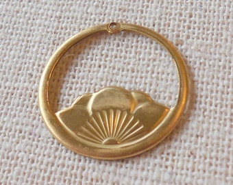 Raw Brass Lotus Blossom Drop/Charm (6) Boho. Yoga, Reiki