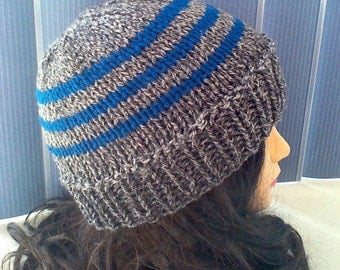 Man's Knit Beanie Hat in Grey and Teal Blue, Striped Beanie