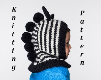 NEW PDF Zebra Balaclava Hat Knitting Pattern