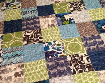 Patchwork Lap or Baby Quilt -- animals, blue, green, grey, white, aqua, elephants, zoo